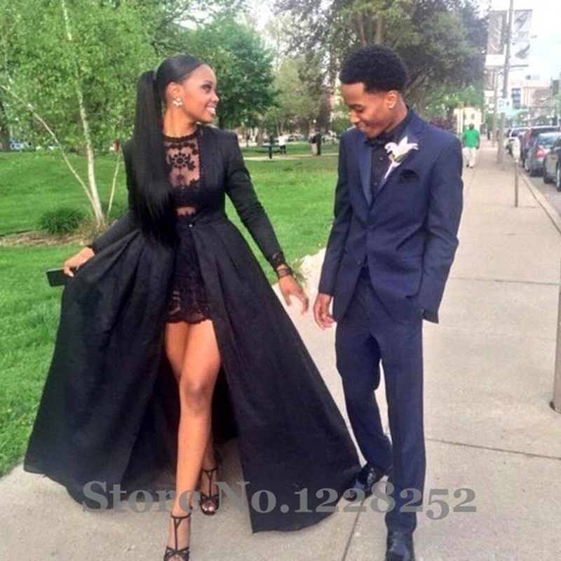 Sexy Two Piece Black Lace Short Prom Dresses Long Sleeve Detachable ...