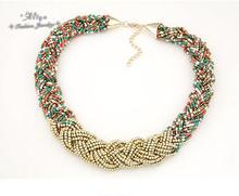 collares 2015 new Hot Sale Fashion brand jewelry Bohemian Bead chain Weave Mix Hit the color Necklaces for women Free Shipping(China (Mainland))