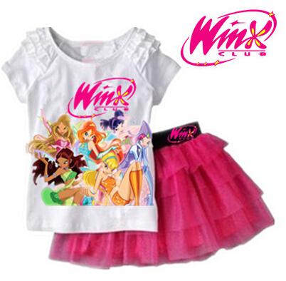 2015 New arrival Girls Clothing Set T shirt + Skirt 2Pcs Suits Winx Club Cartoon Kids Set Children's clothes Free shipping(China (Mainland))