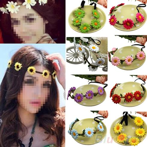 Fashion Women 2014 Boho Style Floral Flower Hairband Headband for Festival Party Wedding 15S8(China (Mainland))