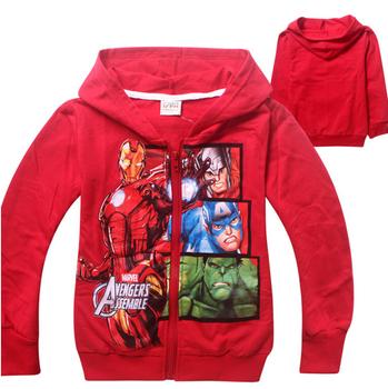1pc Retail 2015 Autumn Children's Coat boys AVENGERS hoodie jackets, baby&Kids cartoon Clothes, children outerwear