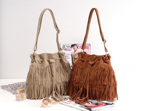 AliExpress.com Product - Big Hot Faux Suede Fringe Tassel Shoulder Bag Womens Handbags Messenger Bag Brown & Apricot Color for choose