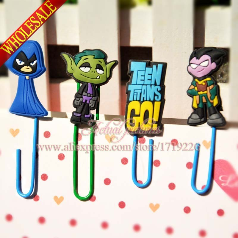 Lovely Clips 4PCS Teen Titans Bookmarks for Book Page Holder,Paper Clips,Office School Supplies,Magazine Label Reading(China (Mainland))