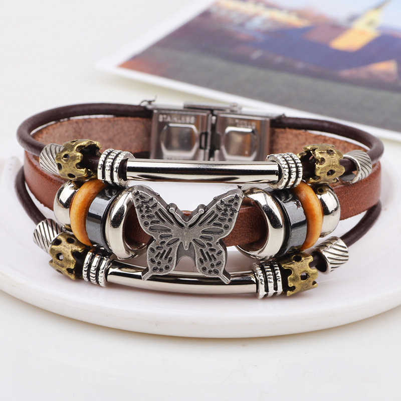 New Arrival Leatherette & Retro Alloy Bowknot Wristband Accessories Jewelry Bracelets for Men & Women Beaded Bangles pulseiras(China (Mainland))