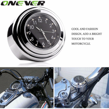 "Waterproof 7/8"" 1"" Chrome Motorcycle Handlebar Mount Quartz Clock Watch for Harley Davidson Honda Yamaha Suzuki Kawasaki 1pcs(China (Mainland))"