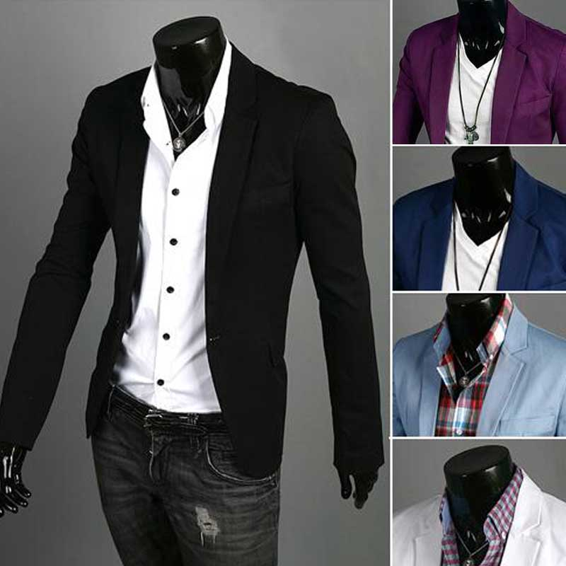 Men's Blazer Jacket 2016 New Arrival Casual Slim Blazer Fashion Single Button Blazer Masculino M-3XL Size 7 Colors