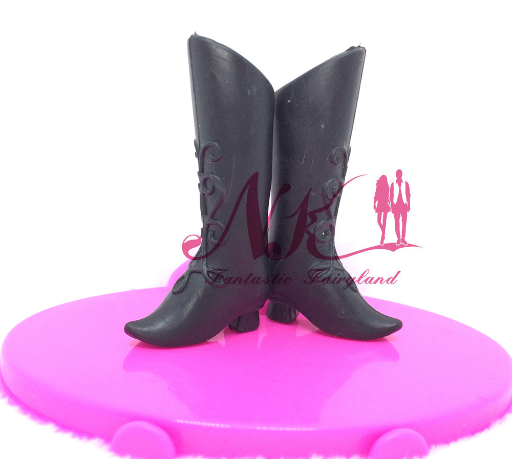 NK 5 pairs/Set Doll Black Footwear Style  Boot Cute Heels Sandals For Barbie Doll  Excessive High quality Child Toy