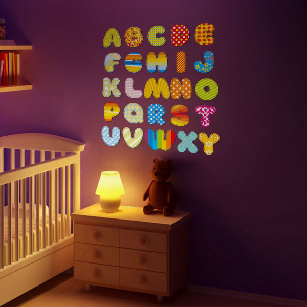 Diy a z alphabet cartoon mural vinyl decal wall sticker for Alphabet wall mural