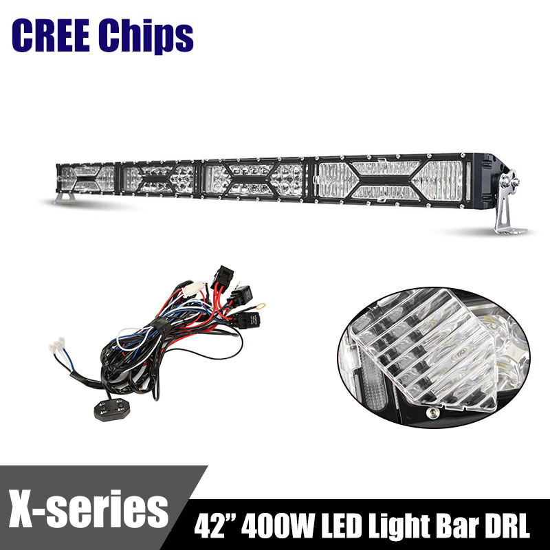 Transformers CREE Chip LED Light Bar DRL 42 Inch 400W Offroad Straight Work Light Bars Combo Beam Eagle Eye Dual Row 4x4 4WD 12V(China (Mainland))
