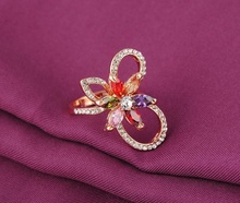 Luxury 18K Rose Gold Plated Flower Crystal Ring Genuine SWA Stellux Engagement Ring Women Jewelry joias