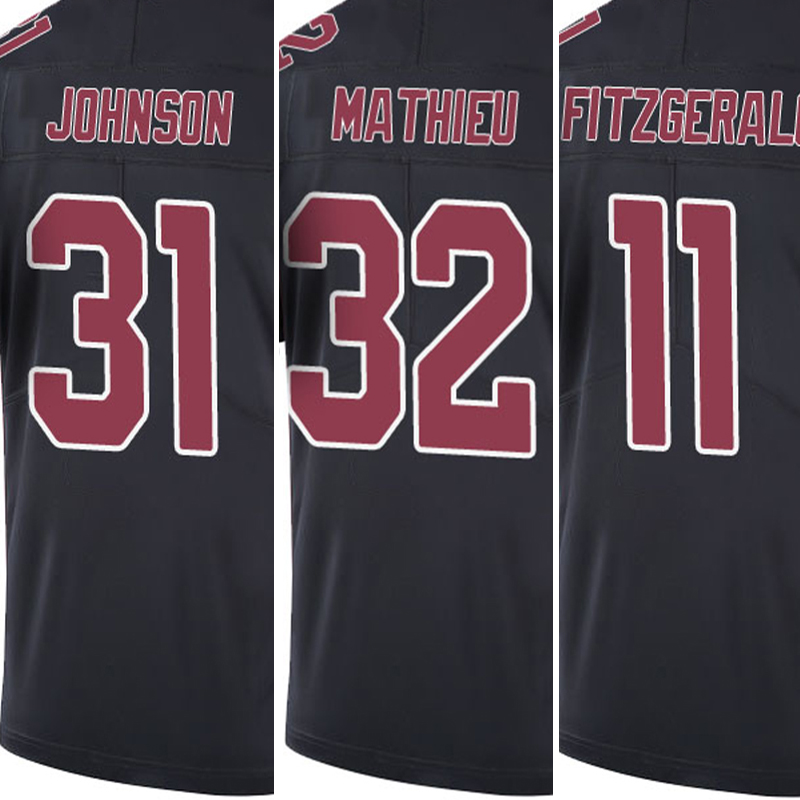 #31 David Johnson embroidery #32 Tyrann Mathieu #11 Larry Fitzgerald Stitched Black Color Rush Limited jersey Free Shipping(China (Mainland))