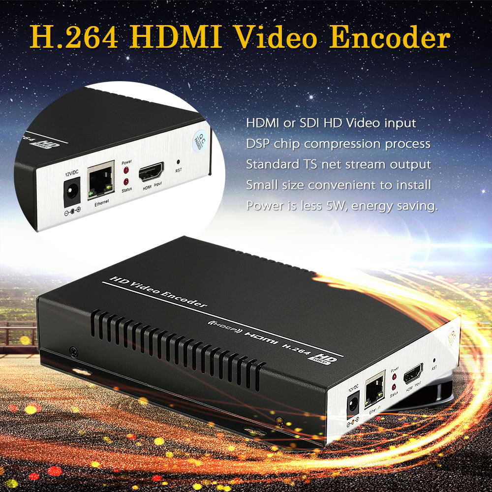 MINE HD Video Encoder H.264 HDMI Video Encoder & HTTP RTSP RTMPD UDP for IPTV Live Stream Broadcast EU/US Plug Black(China (Mainland))