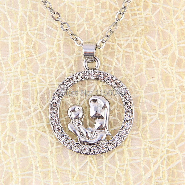 New 2015 Special Gift for Mother Figure Pendent Round Zircon Mother Necklaces Mother Children Mothers Day Gift,free shipping,1pc(China (Mainland))
