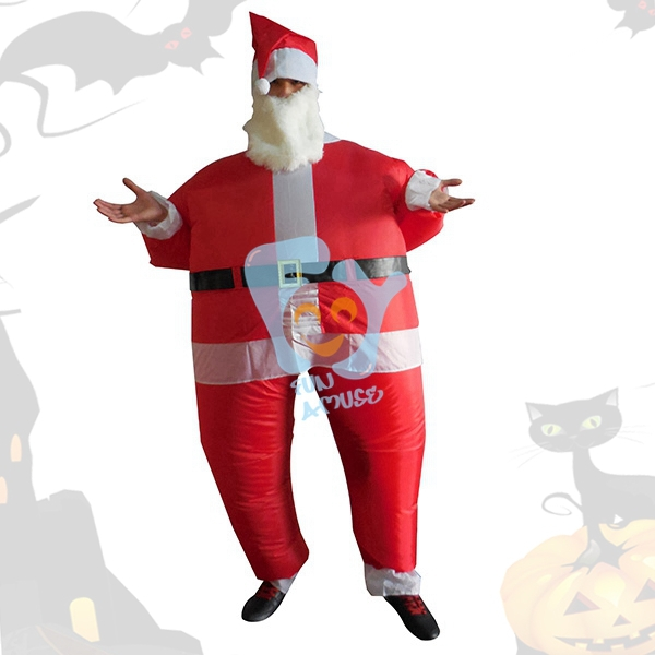 Christmas Party Costumes Inflatable Santa Claus Costumes For X'mas Decoration Fat Funny Air Blowing UP Suits Free Size One Size(China (Mainland))