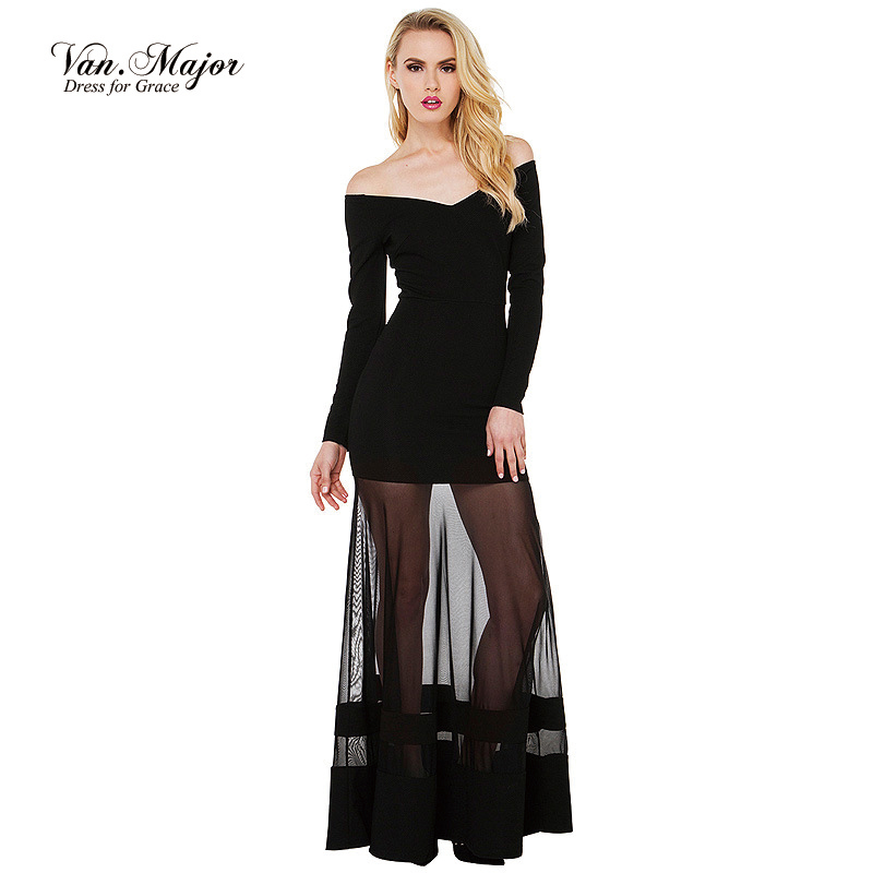 Summer Sexy Women Party Dresses Black Mesh Long Maxi Dress With Patchwork, Vintage Off The Shoulder Dresses Vestido Long Sleeve(China (Mainland))