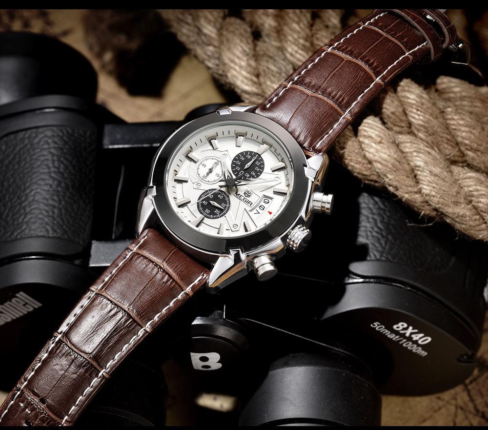 MEGIR Мужчины Хронограф Кварцевые Часы Белый Циферблат Коричневый Кожаный Тонкий Часы многофункциональный Моды Случайные Водонепроницаемый Наручные Часы
