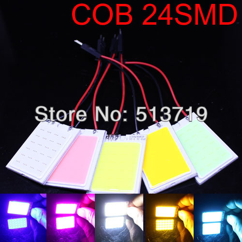 Free shipping Wholesale 4W COB Chip LED 24 led smd Car Interior Light T10 Festoon Dome Adapter 12V Panel light bule yellow red(China (Mainland))