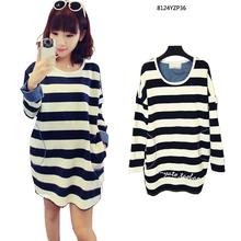 Autumn Maternity Loose Stripe T-shirt Pregnant Clothing Long-sleeve T-shirt Dresses(China (Mainland))
