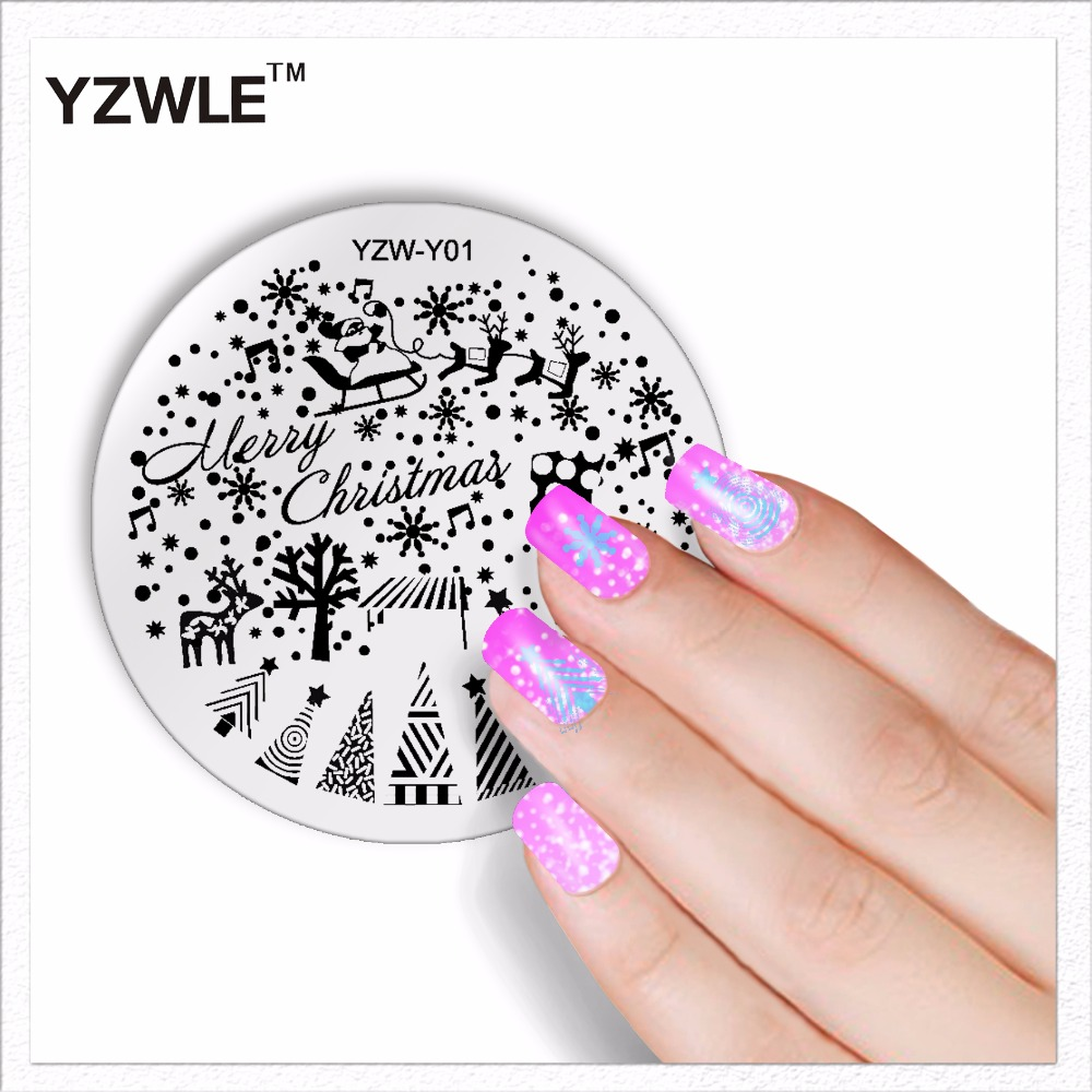 YZWLE 1 Sheet Fashion Round Christmas Design Nail Art Image Stamp Stamping Plates Manicure Template DIY Polish Stencil Nail Tool(China (Mainland))