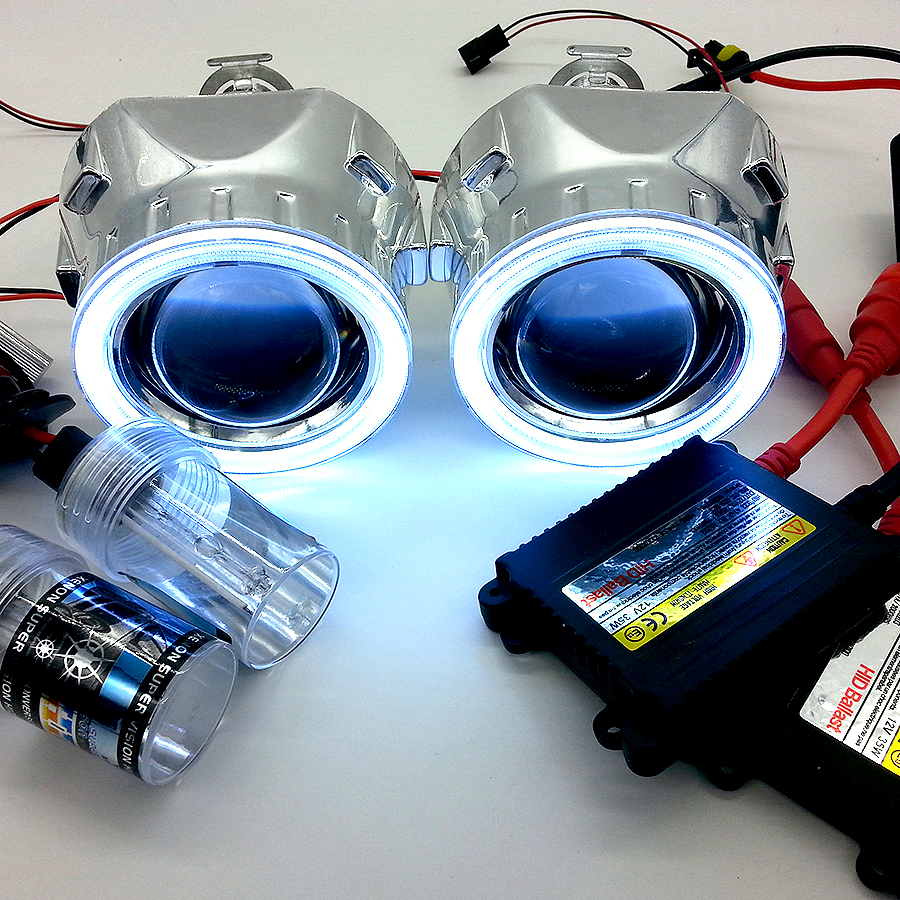 Bi-xenon HID 2.5inch projector headlight Lens + AC 35W Complete Kit with COB Angel Eyes for H4 H7 car styling(China (Mainland))