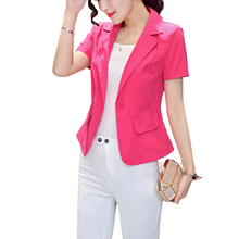 blazer women summer short sleeve suit blazer office lady leisure suit blazer fashion smil quality woman clothes size S-3XL W123