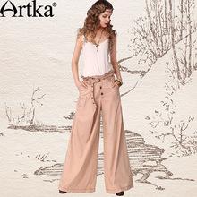 Artka Women'S Fashion Style  Paul Ruffle High Waist Summer Loose Cotton Solid Ruffles Wide Leg Pants  Pants  KN11142X(China (Mainland))
