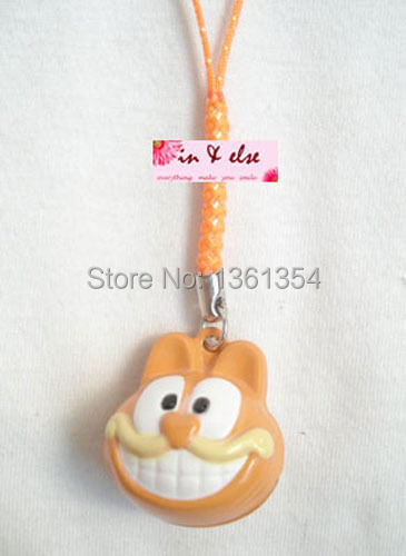 Free Shipping new Unique Hot bell 100pcs Orange Cute Garfield bell cell phone charms Straps(China (Mainland))