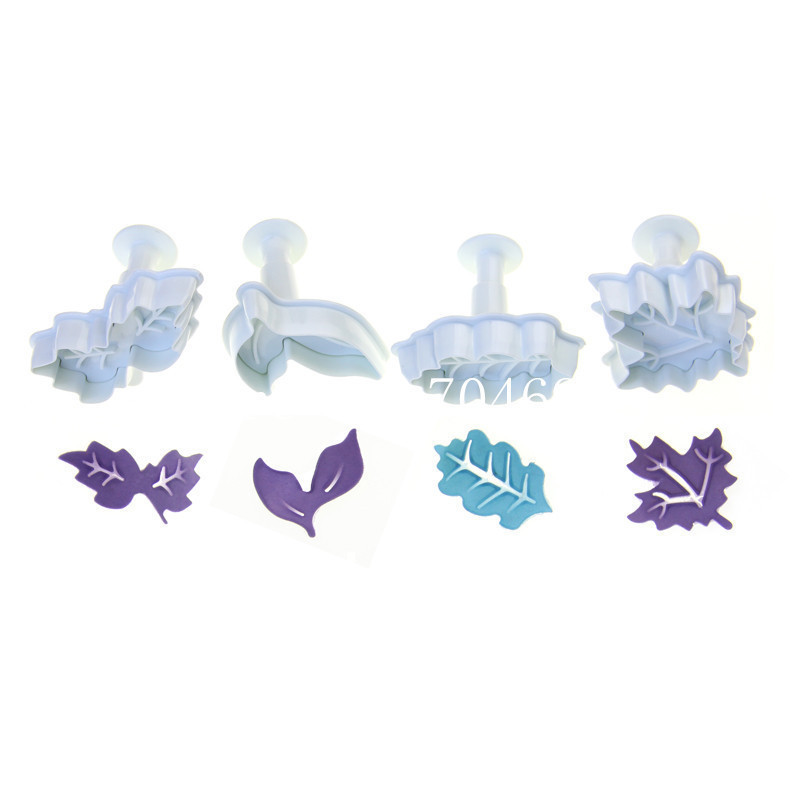New 3D Cookie Cutter 4 kinds leaves shape Pie Crust Cutters cookie stamp(China (Mainland))