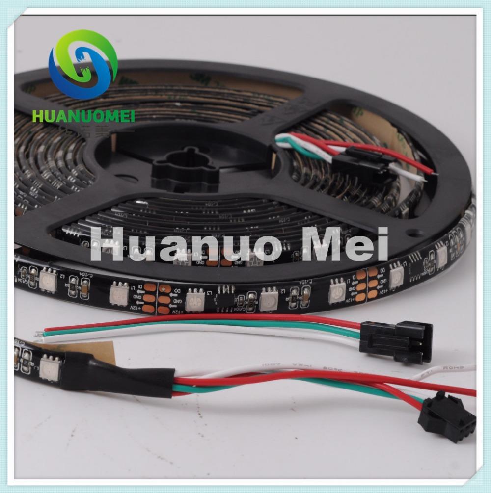 ws2811 digital rgb led strip light;48leds/m with16 pcs WS2811 IC,5M/roll,DC12V,Black PCB,Waterproof silicon coating(China (Mainland))