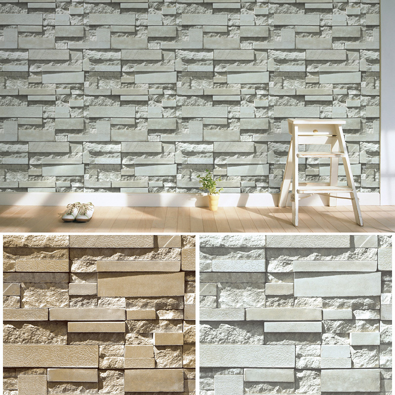 Haokhome 3d brick stone print vinyl wallpaper for 3d effect wallpaper uk