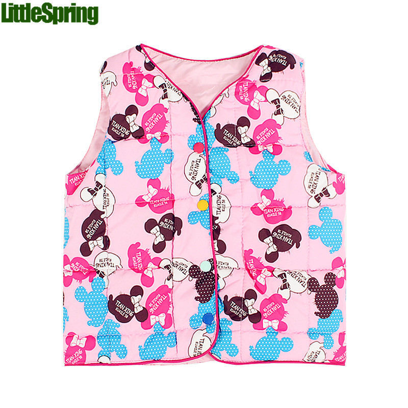 Children winter outwear vest 1-4 year kids clothing cute cartoon printed girls clohing clothes - baby_mart store