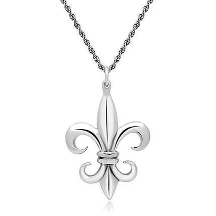 Mansaku New Arrivals Unisex Stainless Steel Fleur De Lis Pendant Necklace High Polish No Coating Nickel Free & Lead Free(China (Mainland))