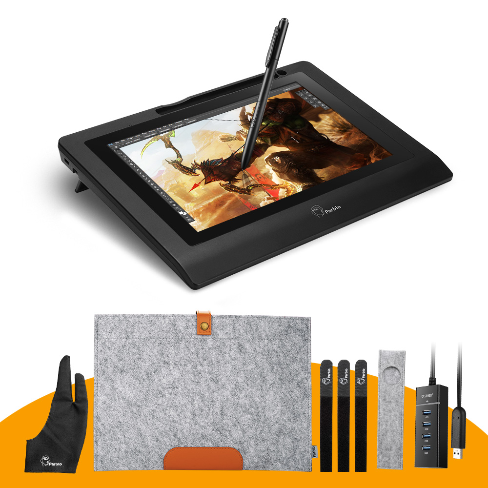 """Parblo Coast10 10.1"""" IPS Graphic Monitor Kit For Design+ Battery-free Pen +Wool Liner Bag+Two-Finger Glove+ Stylus Sleeve(China (Mainland))"""