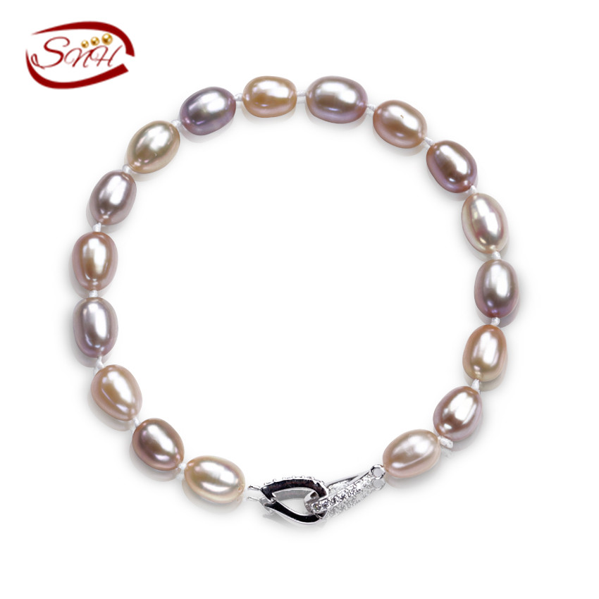 SNH 100% real cultured pearl bracelet mixed color genuine pearl bracelet jewelry(China (Mainland))