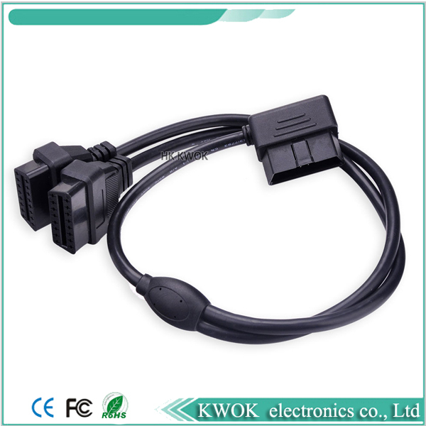 1 to 2 Extension Cable OBD2 Male to Female 90 Degree Elbow Cable OBD II OBD 2 16 Pin Male to Dual Female Connector Cable 60cm(China (Mainland))