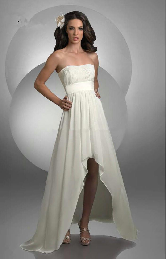 Wedding Dress Short Corset : Beach style pleated strapless bodice corset ivory chiffon