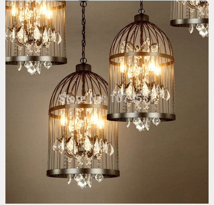 35 45cm nordic birdcage crystal pendant lights iron cage home decor american vintage industrial. Black Bedroom Furniture Sets. Home Design Ideas