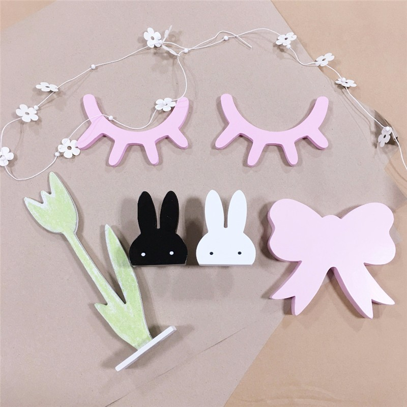1 Pair 3D Wood Eyelash Wall Sticker Decorations for Baby Kid Room Bedroom Decorative Wooden Decor Ornament Home Furnishing