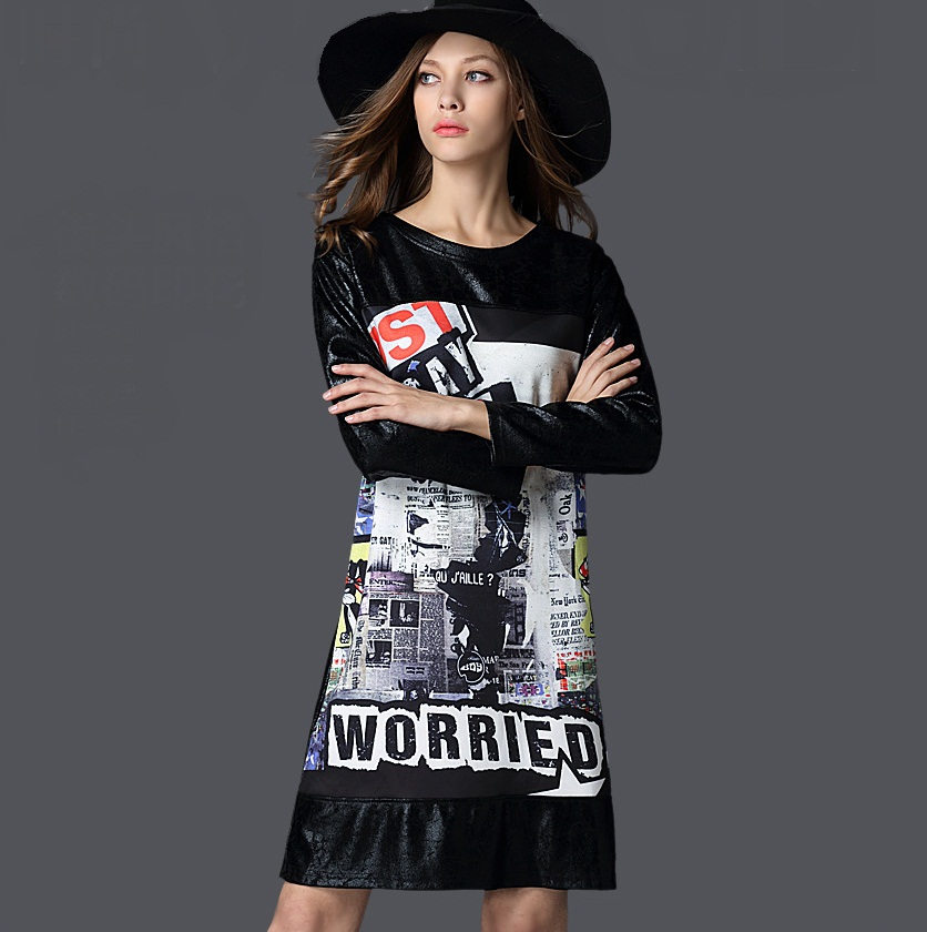 New 2016 Spring plus size Women clothes fashion Map digital printed A-line dress long-sleeve casual vestidos XXXXL XXXXXL 2556Одежда и ак�е��уары<br><br><br>Aliexpress