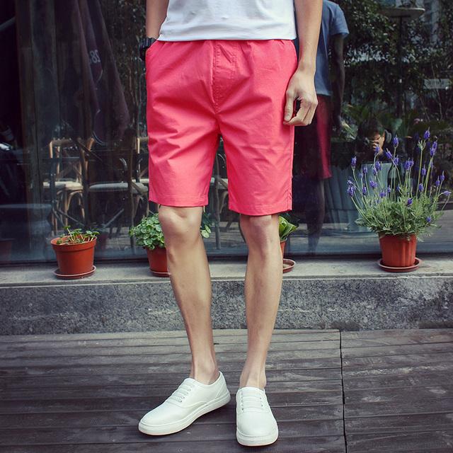 2016 новая мода мужские шорты Мода сплошной цвет большой размер случайные шорты Тонкий ...