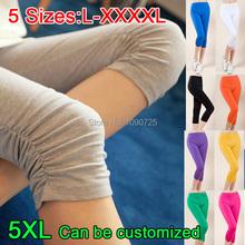 2015 Spring Summer Super-elastic Solid Candy colors Women Leggings Ladies' Female Plus Big size XXXL XXXXL 4XL Capri Feet pants(China (Mainland))