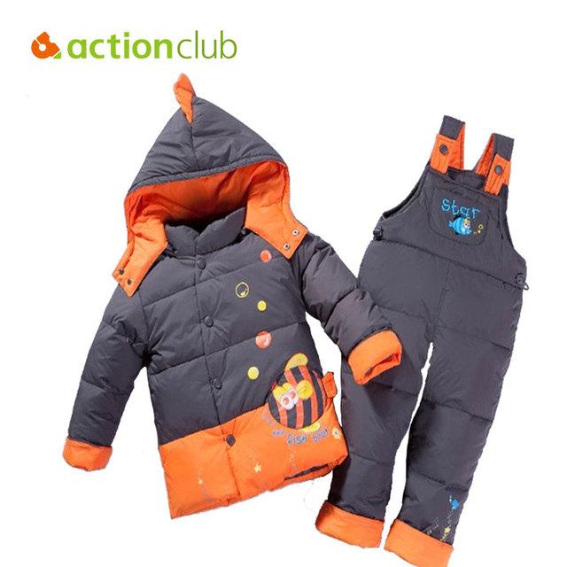 Зима Дети Cothing Милые Рыбы Устанавливает Куртка Парки Установить И Комбинезоны Брюки Дети Войны Одежда Рождественский Подарок Бесплатная Доставка KS420
