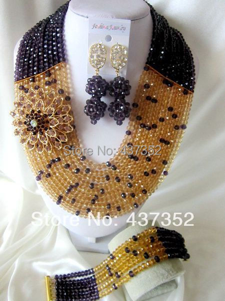 New Fashion Nigerian African Wedding Beads Jewelry Set Dark Purple Gold Champagne Crystal Necklaces Bracelet Earrings CPS-1150<br><br>Aliexpress