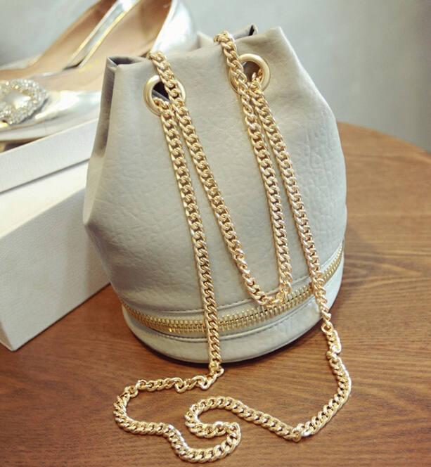 Korean mini bucket bag 2015 Chain Draw String shoulder bag washed leather handbags crossbody bags for women sac a main A555(China (Mainland))