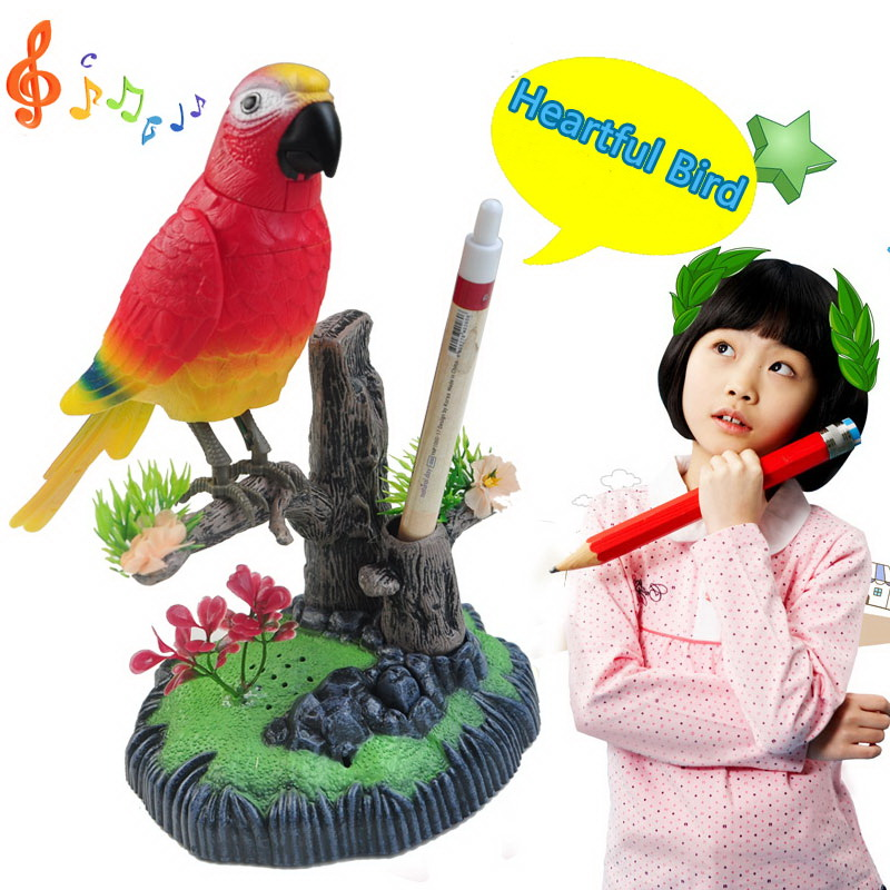 Voice Operated Recording Simulation Bird Moving Singing Voice Sensing Electronic Parrot Office Furnishing Pen Holder Funny Toy 7<br><br>Aliexpress