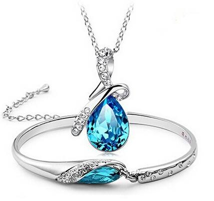 Задает синий ювелирные изделия стерлингового серебра