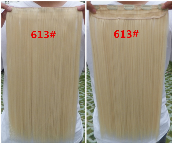 free shipping retail straight clip in hair extensions synthetic hair pieces for women 613# blonde color 24inches long 120g/pc(China (Mainland))