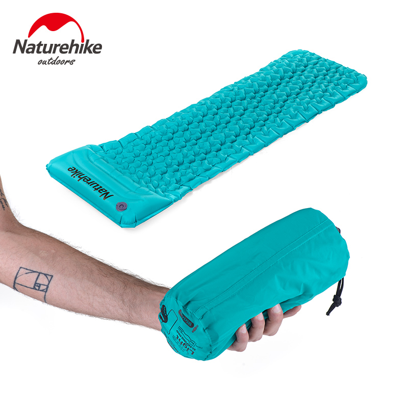 Naturehike Outdoor Inflatable Cushion Sleeping Bag Mat Fast Filling Air Moistureproof Camping Mat With Pillow Sleeping Pad 460g(China (Mainland))