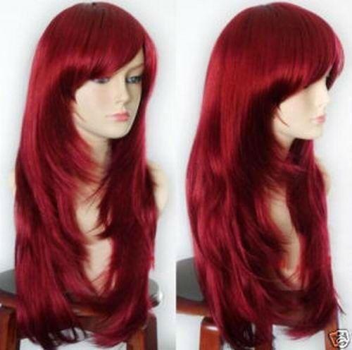 RH2230 fast shipping New Fashion long Dark Red Wig<br><br>Aliexpress