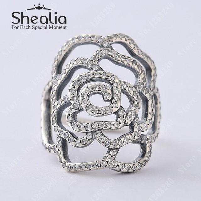2015 новый большой розовый кольца с ясно CZ вымостите цветок кольцо оригинал 925 обручальное кольцо Shealia ювелирных изделий
